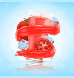 splash of tomato juice with glass and cube of ice vector image