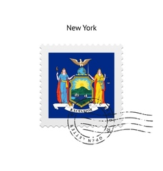 state new york flag postage stamp vector image