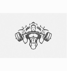strong bodybuilder lifting barbell silhouette hand vector image