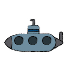 Submarine with periscope underwater boat vector