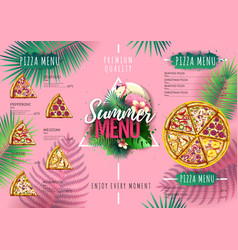 Summer menu design with flamingo and tropic leaves vector