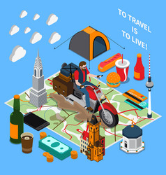 Tourist lifestyle isometric composition vector