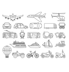 Toy transport set to be colored coloring book vector