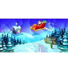 Trendy modern merry christmas landscape with santa vector
