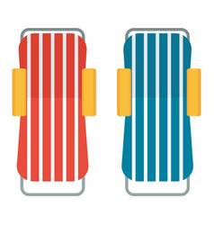 two beach chaise lounges vector image