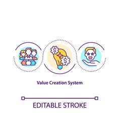 Value creation system concept icon vector