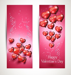 verticalFlyers with hearts vector image