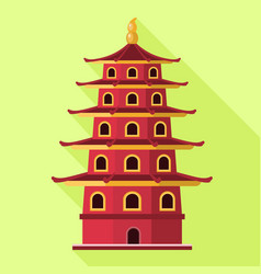 Vietnam red building icon flat style vector