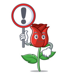 with sign red rose character cartoon vector image