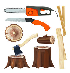 Wood industry forestry branch and trunks luber vector