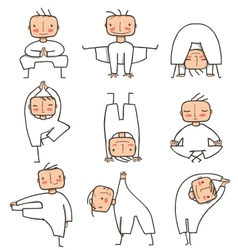 Comic Yoga Man Collection vector image vector image