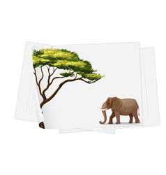 Elephant in jungle on a paper vector