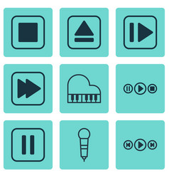 set of 9 multimedia icons includes following vector image vector image
