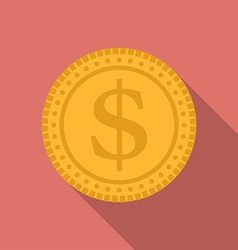Dollar coin icon Modern Flat style with a long vector image vector image