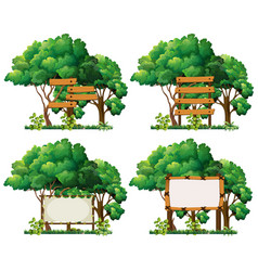 four frame templates on big trees vector image vector image