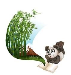 Panda reading book about bamboo vector image vector image