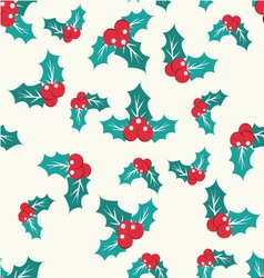 pattern with Holly Berry on a white background vector image
