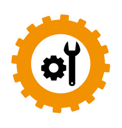 silhouette in shape of gear with wrench and pinion vector image vector image