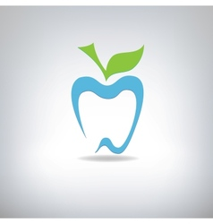 silhouette of a tooth in the form of an apple vector image