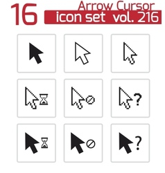 black mouse cursor icons set vector image