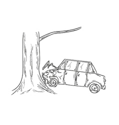 car accident sketch vector image