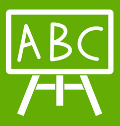 chalkboard with the leters abc icon green vector image