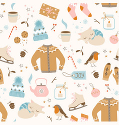 cozy christmas pattern vector image vector image