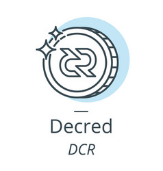 decred cryptocurrency coin line icon of virtual vector image vector image