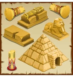 Sarcophagus and the pyramid symbols of ancient vector image vector image