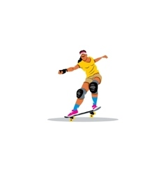 Skateboarder girl jumping sign vector image