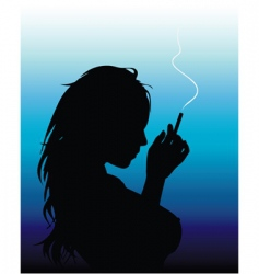 smoking woman vector image vector image