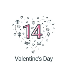 Valentines day flat line heart and 14 date vector image