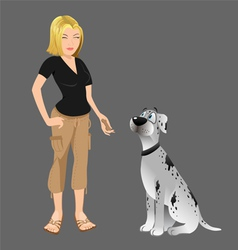 dog owner giving treat vector image