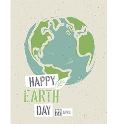 Happy Earth Day Poster Earth on the recycled paper vector image vector image