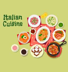 italian cuisine lunch menu icon for food design vector image