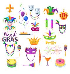 mardi gras festival collection on white vector image