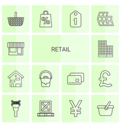 14 retail icons vector