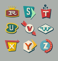 alphabet letters on retro signs vector image