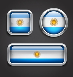 Argentina flag glass buttons vector image