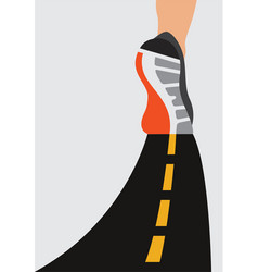 Athlete runner feet running on road closeup on vector