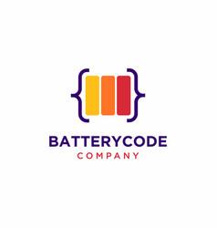 Battery code logo design vector