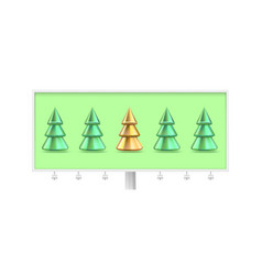 billboard with one golden christmas tree standing vector image