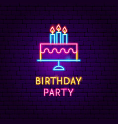 Birthday party neon label vector