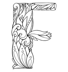 black and white freehand drawing capital letter f vector image