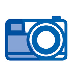 Blue shading silhouette of photo camera in close vector