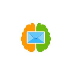brain mail logo icon design vector image