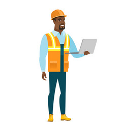 Builder using laptop vector