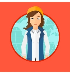 Business woman taking part in global business vector
