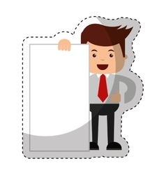 Businessman funny with document character icon vector