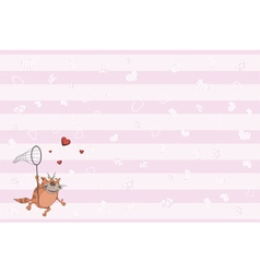 Cat and hearts postcard vector image